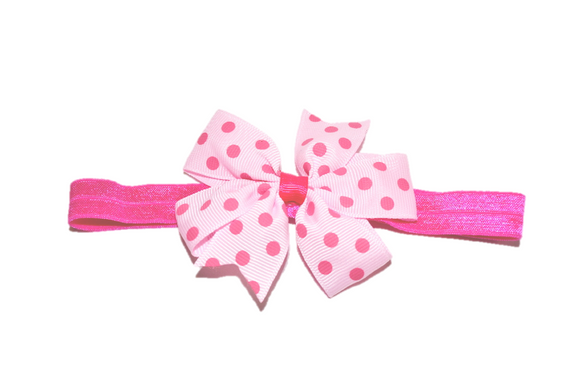 Light Pink and Hot Pink Polka Dot Pinwheel Bow Headband