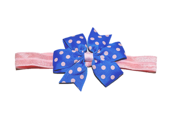 Blue and Light Pink Polka Dots Pinwheel Bow Headband