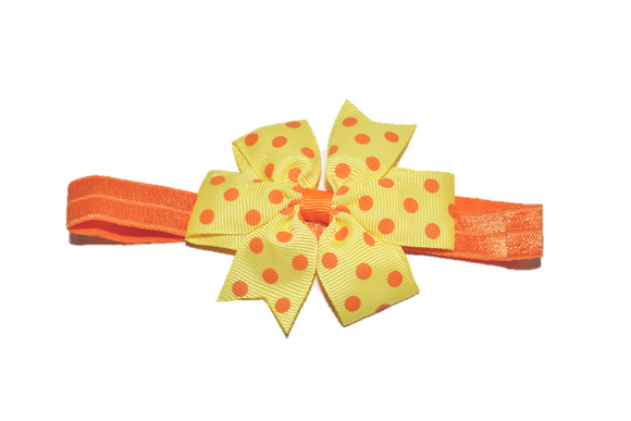Yellow and Orange Polka Dot Pinwheel Bow Headband