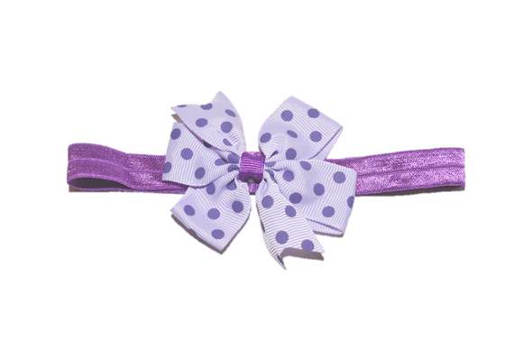 Light Purple and Purple Polka Dot Pinwheel Bow Headband
