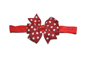 Red and White Polka Dot Pinwheel Bow Headband - Dream Lily Designs