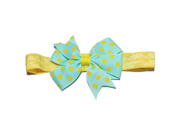 Teal and Yellow Polka Dot Pinwheel Bow Headband