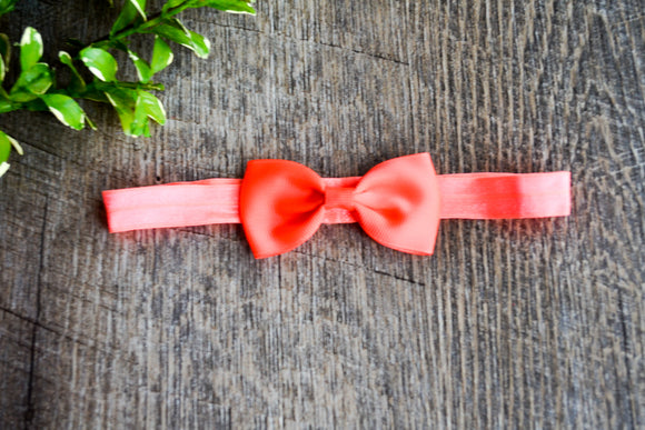 Neon Orange Bowtie Headband - Dream Lily Designs
