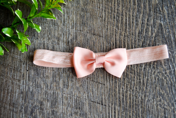 Light Peach Bowtie Headband - Dream Lily Designs