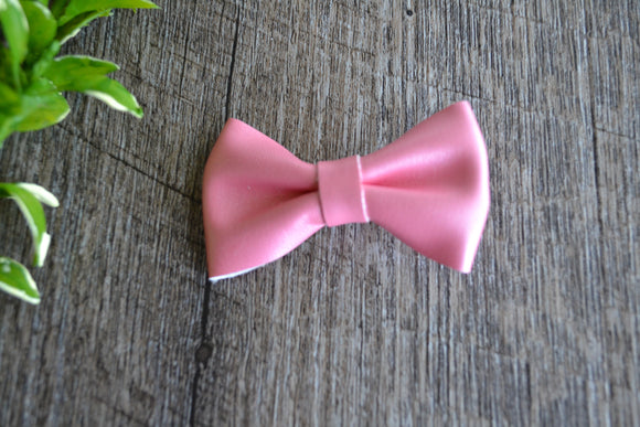 Coral Pink Bowtie Leather Bow - Dream Lily Designs