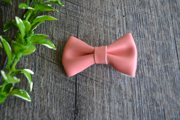 Coral Orange Bowtie Leather Bow - Dream Lily Designs