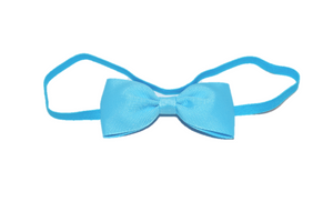 Bright Blue Skinny Bowtie Headband - Dream Lily Designs