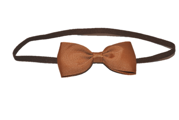 Brown Skinny Bowtie Headband - Dream Lily Designs