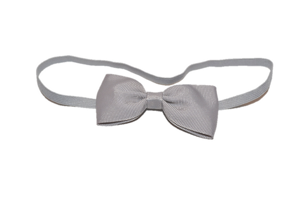 Grey Skinny Bowtie Headband - Dream Lily Designs