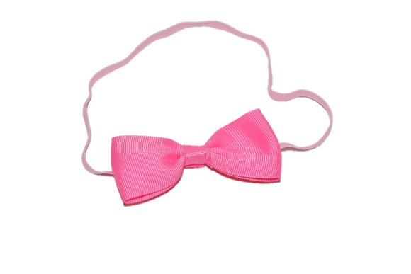 Pink Skinny Bowtie Headband - Dream Lily Designs
