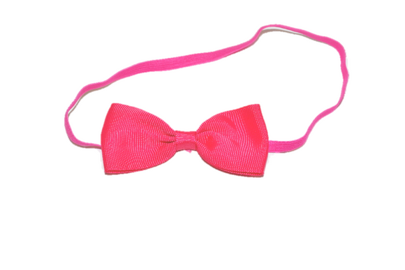 Hot Pink Skinny Bowtie Headband - Dream Lily Designs