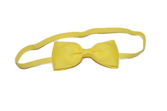 Yellow Skinny Bowtie Headband - Dream Lily Designs