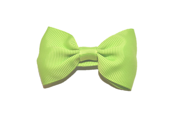 Lime Green Small Bow Tie Hair Bow Clip - Dream Lily Designs