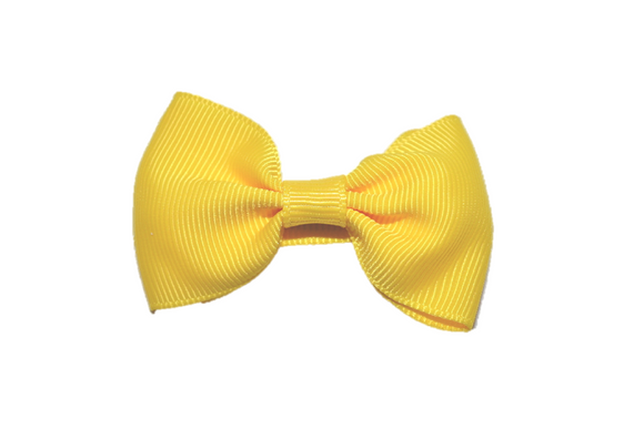 Bright Yellow Small Bow Tie Hair Bow Clip - Dream Lily Designs