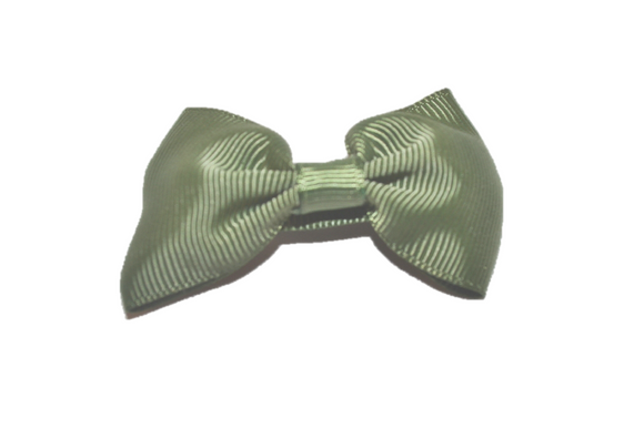 Olive Green Small Bow Tie Hair Bow Clip - Dream Lily Designs