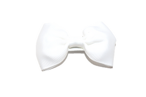 White Small Bow Tie Hair Bow Clip - Dream Lily Designs