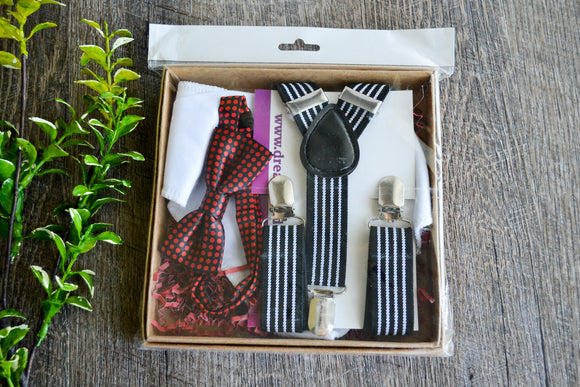 Boy Suspenders & Gift Sets - Black White Suspenders, White Bib and Black Red Bow Tie - Dream Lily Designs