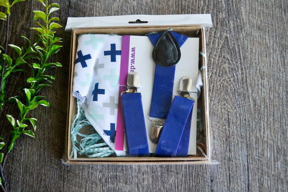 Boy Suspenders & Gift Sets - Royal Blue Suspenders and Plus Sign Bib - Dream Lily Designs