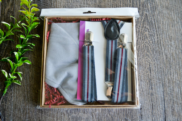 Boy Suspenders & Gift Sets - Grey Red Suspenders and Grey Bib - Dream Lily Designs