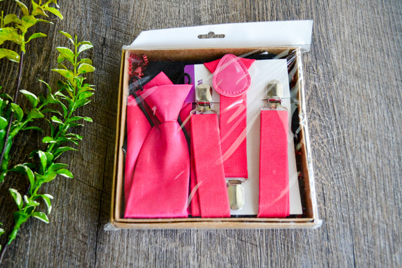 Boy Suspenders & Gift Sets - Hot Pink Suspenders, Long Tie and Black Bib - Dream Lily Designs