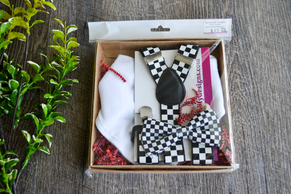 Boy Suspenders & Gift Sets - Checker Suspenders, Bow Tie and White Bib - Dream Lily Designs