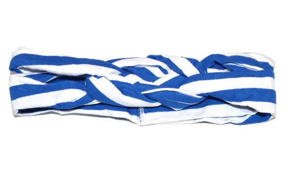 Blue and White Striped Braided Headband - Dream Lily Designs
