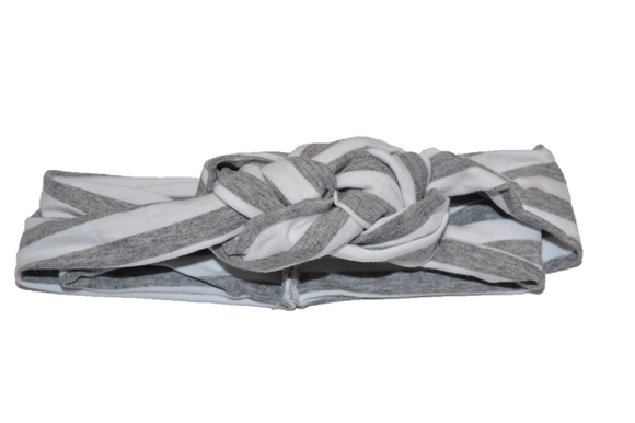 Grey and White Striped Braided Headband - Dream Lily Designs