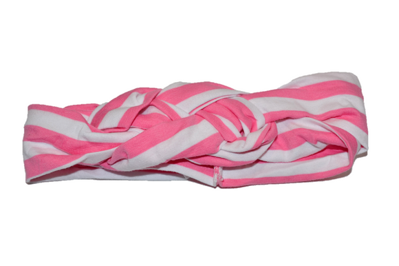 White and Pink Braided Headband