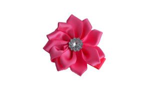 Satin Flower Hair Clip - Bubblegum Pink - Dream Lily Designs