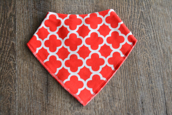 Red Quadrafoil Bandana Bib - Dream Lily Designs