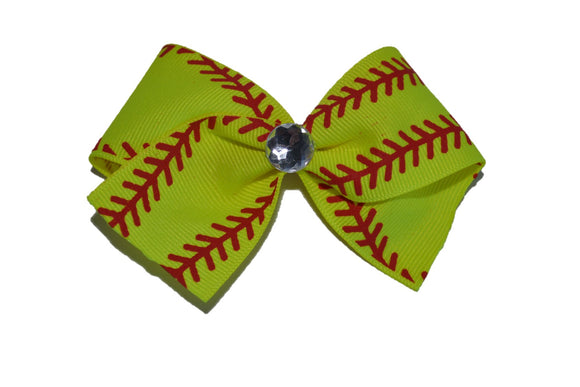 Bright Neon Yellow Softball Bow (Sports) - Dream Lily Designs