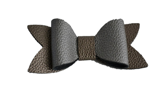 Gunmetal Bronze Leather Hair Bow - Dream Lily Designs