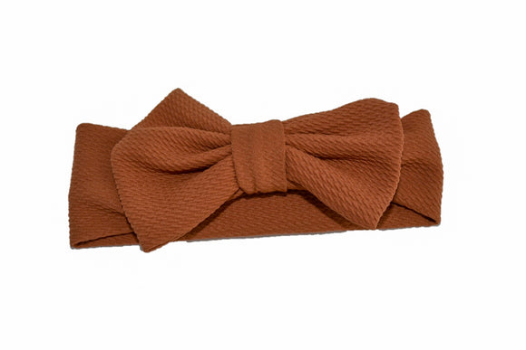 Fabric Bow Baby Headband - Brown - Dream Lily Designs