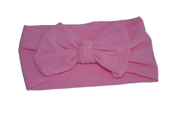 Bubblegum Pink Nylon Bow Knot Baby Wide Headband - Dream Lily Designs