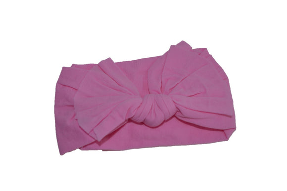 Bubblegum Pink Nylon Ragged Knot Baby Wide Headband - Dream Lily Designs