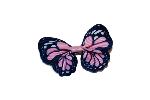Butterfly Hair Clip - Light Pink with Navy Blue Edge