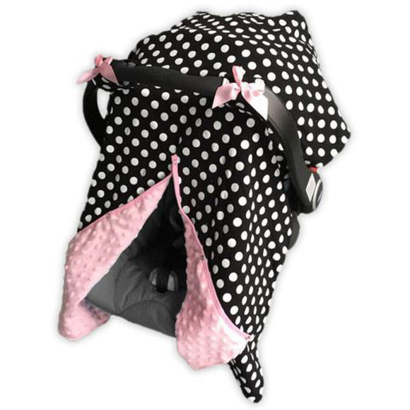 Baby Car Seat Carrier Cover Blanket - Black with White Polka Dots and Pink Minky Fabric - Dream Lily Designs