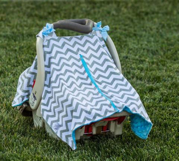 Baby Car Seat Carrier Cover Blanket - Grey Chevron with Blue Minky Fabric and Blue Bows - Dream Lily Designs
