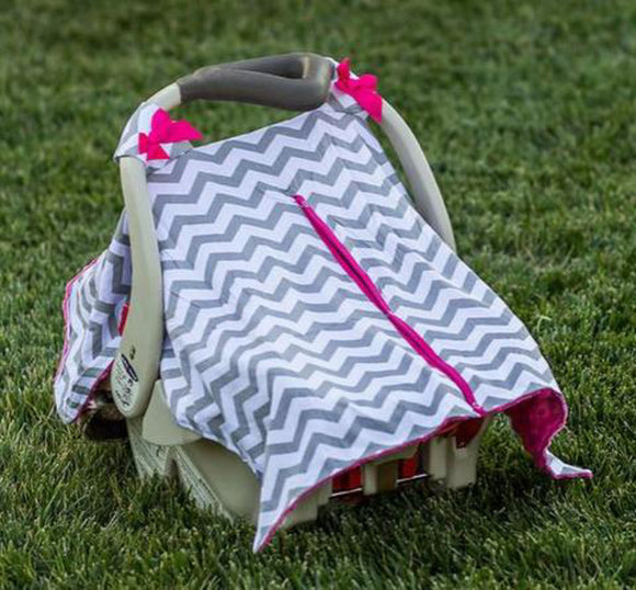 Baby Car Seat Carrier Cover Blanket - Grey Chevron with Pink Minky Fabric and Pink Bows - Dream Lily Designs