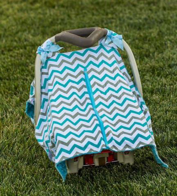 Baby Car Seat Carrier Cover Blanket - Teal and Grey Chevron with Blue Minky Fabric - Dream Lily Designs