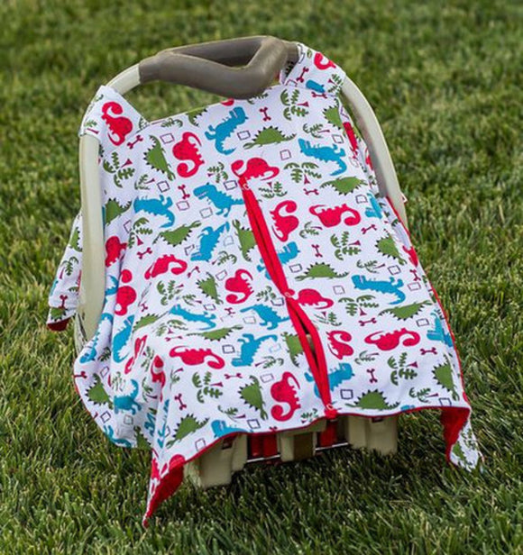 Baby Car Seat Carrier Cover Blanket - Blue Green Red Dinosaurs with Red Minky Fabric - Dream Lily Designs