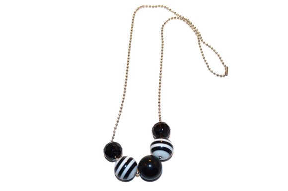 Black and White Striped Beaded Chain Necklace - Dream Lily Designs