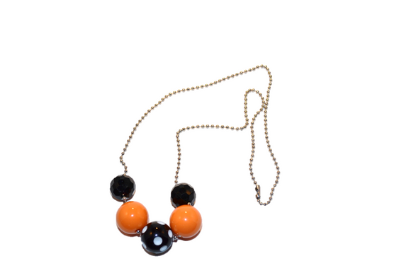 Orange and Black Polka Dot Beaded Chain Necklace - Dream Lily Designs