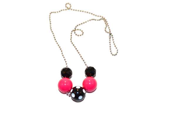 Hot Pink and Black Polka Dot Beaded Chain Necklace