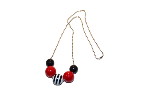 Red and Black Striped Beaded Chain Necklace