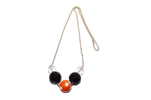 Orange and Black Polka Dot Beaded Chain Necklace