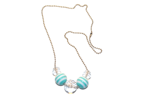 Clear and Aqua Striped Beaded Chain Necklace