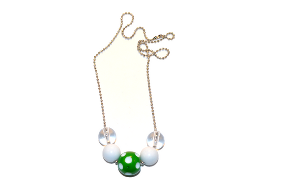 White and Green Polka Dot Beaded Chain Necklace - Dream Lily Designs