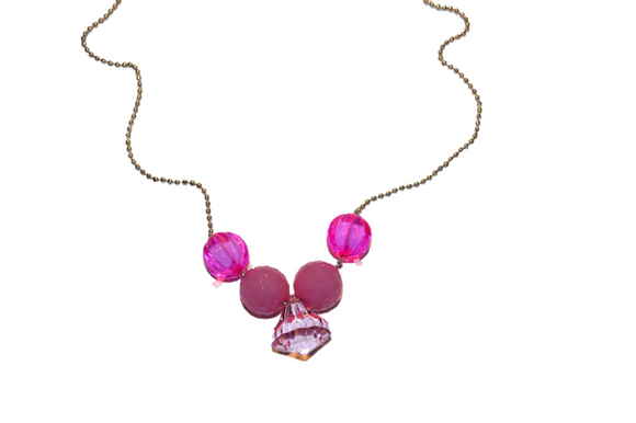 Pink Beaded Chain Necklace with Light Pink Jewel
