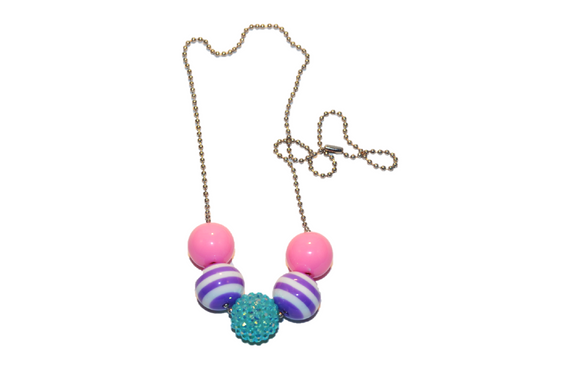 Pink Purple and Teal Rhinestone Beaded Chain Necklace